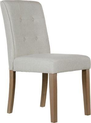 Krzesło tapicerowane z lnu Capitone