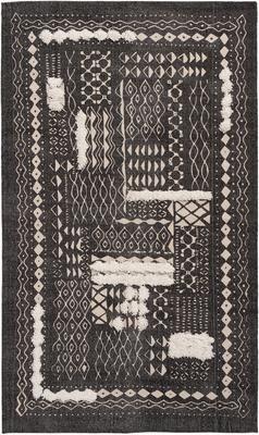 Boho Baumwollteppich Boa mit Hoch-Tief-Muster in Schwarz/Weiß