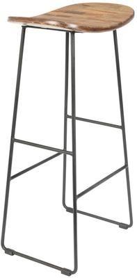 Stołek barowy z drewna tekowego i metalu Tangle
