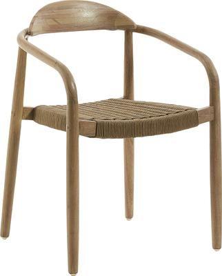 Krzesło z podłokietnikami z litego drewna Nina