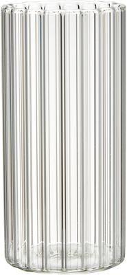 Waterglazen Romantic van borosilicaatglas met groefreliëf, 6 stuks
