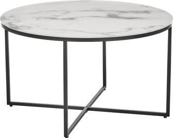 Mesa de centro Antigua, tablero de cristal en aspecto mármol