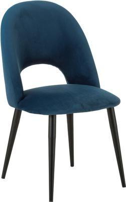 Chaise rembourrée en velours bleu Rachel