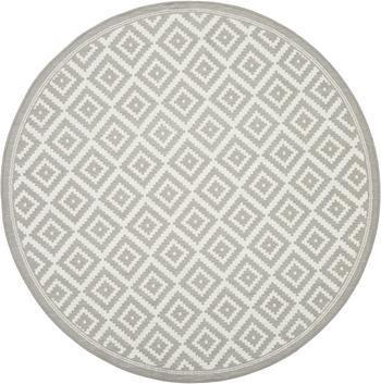 Gemusterter runder In- & Outdoor-Teppich Miami in Grau/Weiß