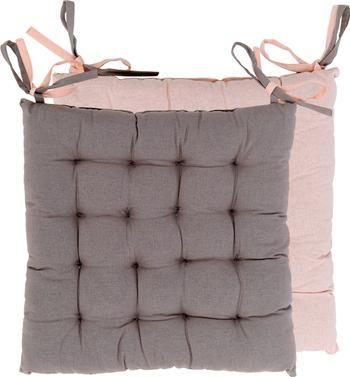 Dubbelzijdige stoelkussens Duo roze/grijs, 2 stuks