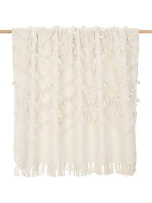 Manta de algodón con borlas y pompones Pana, estilo boho