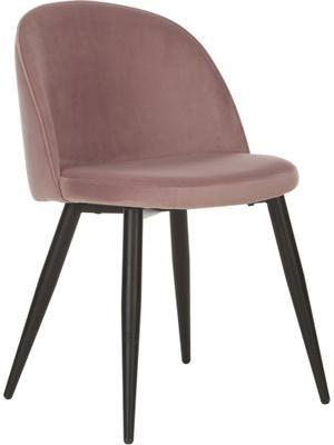 Chaise moderne en velours, rembourrée Amy, 2pièces