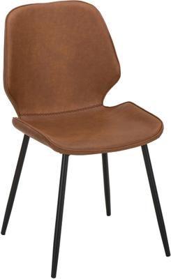 Chaise cuir synthétique rembourré Louis, 2pièces