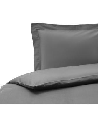 Parure copripiumino in raso di cotone grigio scuro Premium