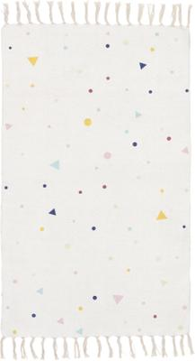 Bavlněný koberec s barevným vzorem a třásněmi Tainka