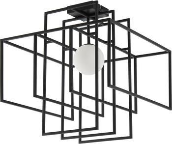 Design plafondlamp Rubic met glazen lampenkap