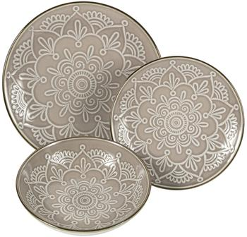 Geschirr-Set Baku mit Ornament-Relief, 6 Personen (18-tlg.)