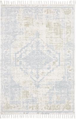 Handgewebter Baumwollteppich Jasmine in Beige/Blau im Vintage-Style