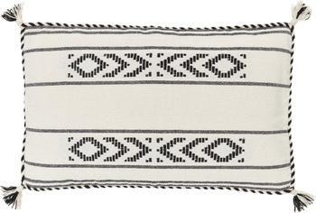 Housse de coussin rectangulaire ethnique beige Okiro