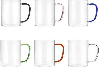 Tasse en verre avec poignées colorées, 6élém.