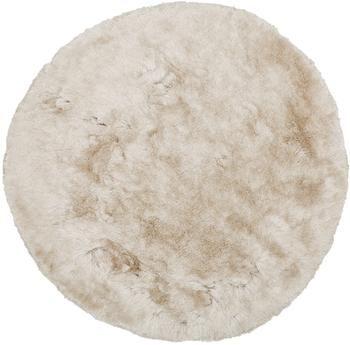 Glänzender Hochflor-Teppich Jimmy in Elfenbein, rund