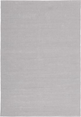 Dünner Baumwollteppich Agneta in Grau, handgewebt