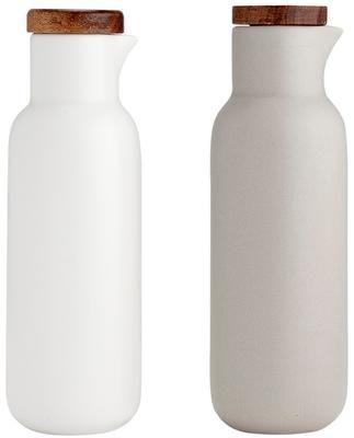 Aceitera y vinagrera de porcelana y madera Essentials, 2uds.