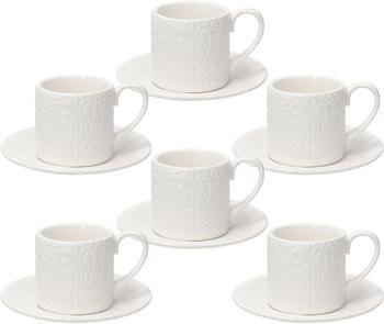Tazza da espresso in porcellana con piattini con ornamento in rilievo Ornament 6 pz