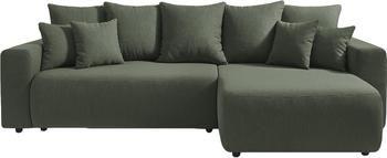 Divano letto angolare in tessuto verde oliva con contenitore Elvi