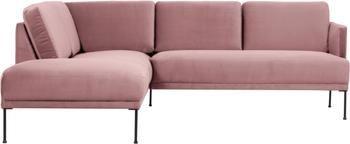 Canapé d'angle velours rose Fluente