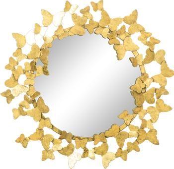 Espejo de pared redondo de metal Butterfly