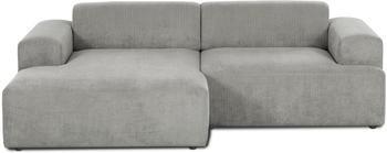 Canapé d'angle 3places velours côtelé gris Melva