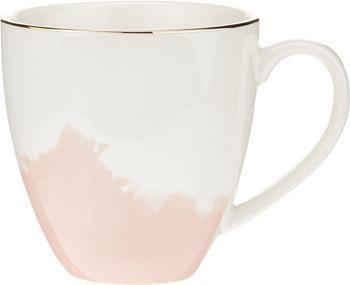 Tasse à café porcelaine à rebord doré Rosie, 2pièces