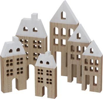 Decoratieve huisjes Towny van hout, 6 stuks