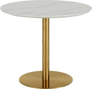 Mesa de comedor redonda Karla, tablero en aspecto mármol