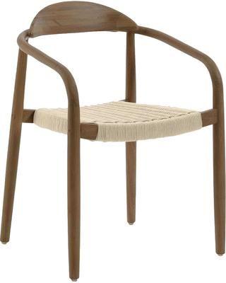 Krzesło z podłokietnikami z litego drewna Glynis