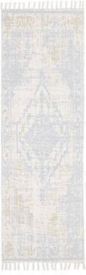 Handgewebter Baumwollläufer Jasmine in Beige/Blau im Vintage-Style