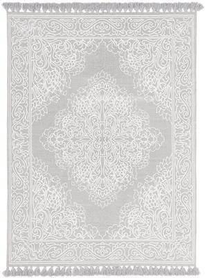 Bavlněný vzorovaný koberec se střapci Salima, ručně tkaný