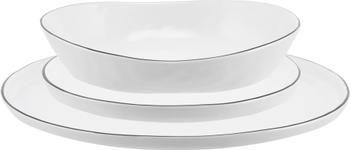 Handgemaakte bordenset Salt, 12-delig
