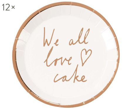 Talerz z papieru We All Love Cake, 12 szt.