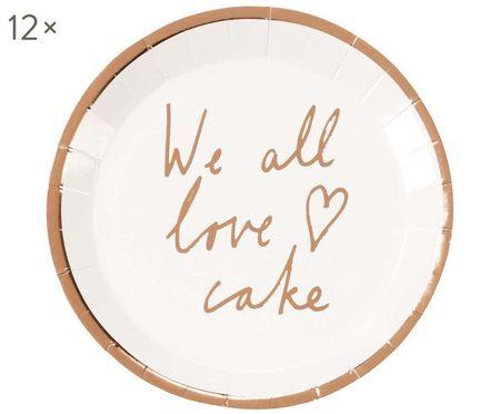 Papier-Teller We All Love Cake, 12 Stück