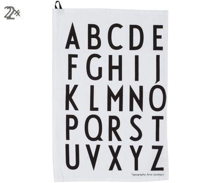 Torchons en coton Alphabet, 2 pièces