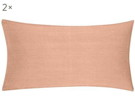 Gewaschene Baumwoll-Kissenbezüge Arlene in Apricot, 2 Stück