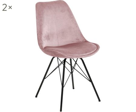 Chaise en velours rembourrée Eris