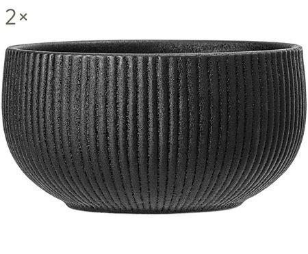 Schälchen Neri mit Rillenstruktur in Schwarz matt, 2 Stück