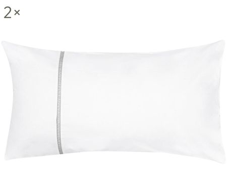 Perkal-Kissenbezüge Mari mit Hohlsaumstickerei, 2 Stück