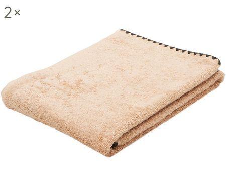 Handtücher Issey mit bestickter Borte, 2 Stück