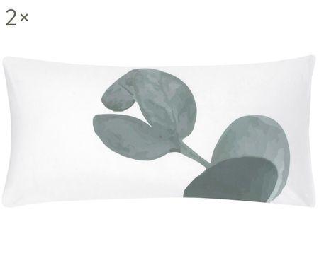 Perkal-Kissenbezüge Eukalyptus in Grün/Weiß, 2 Stück