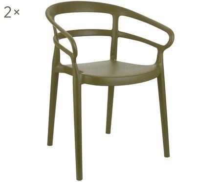 Chaises à accoudoirs en plastique Rodi, 2 pièces