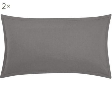 Gewaschene Leinen-Kissenbezüge Breeze in Dunkelgrau, 2 Stück