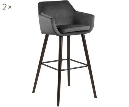 Krzesło barowe z aksamitu Nora, 2 szt.