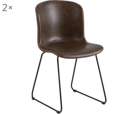 Krzesło tapicerowane ze sztucznej skóry Story, 2 szt.