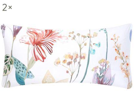 Perkal-Kissenbezüge Meadow mit Aquarell Blumenmuster, 2 Stück