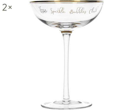 Champagnerschalen Fizz mit goldener Aufschrift, 2er-Set