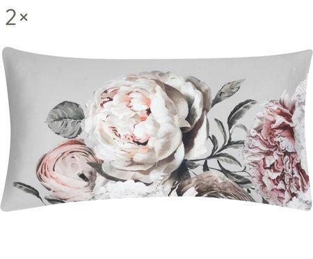 Baumwollsatin-Kissenbezüge Blossom mit Blumenprint, 2 Stück